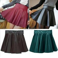 Women High Waist Short Skirts Girls Faux Leather Pleated Mini Skirt 4 Colors U50