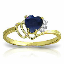 Genuine Sapphire Heart Gemstone & Diamonds Ring 14K. Yellow,  White or Rose Gold