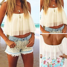Wholesale Women Ladies White Spaghetti Strap Chiffon Blouse Shirt Crop Tops Nice