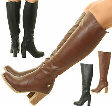 New Womens Ladies Knee High Boots Heel Gusset Stretchy Fit Wide Calf Black Brown