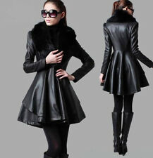 Womens Trench Fur Collar Natural Leather Dress Slim Jacket Windbreaker Coats