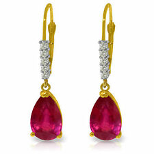 Natural Red Ruby Gemstones & Diamonds Dangles Leverback Earrings 14K. Solid Gold