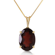 Genuine Oval Red Garnet 6 ct Gemstone Solitaire Pendant Necklace 14K. Solid Gold