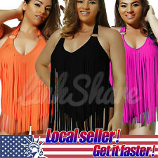 US LOCAL Sexy Women Plus Size Swimsuit Tassels Padded One-Piece Bikini Swimwear