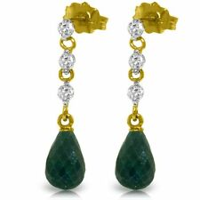 Natural Emeralds 6.6 ctw Briolette Gems & .30 ctw Diamonds Earrings in 14K. Gold