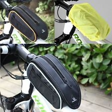 Roswheel Cycling Bike Bicycle Front Frame Pannier Tube Bag Pouch with Rain Cover