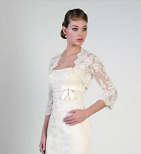 T25 White Ivory Lace Shawl Bolero Wedding Jacket Bridal Custom Size 3/4 Sleeve-G