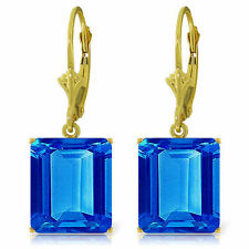 Natural Blue Topaz Emerald Cut Gems Dangle Earrings 14K White, Yellow, Rose Gold