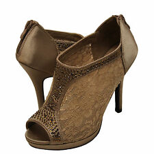 Womens Shoes Blossom Yael 09 Embellished Peep Toe Lace Booties Brown *New*