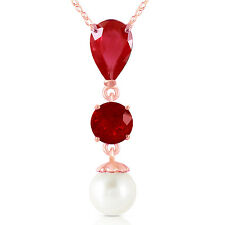 Genuine Red Ruby Gemstones & Cultured Pearl Pendant Necklace in 14K. Solid Gold