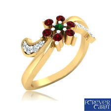 0.08 Ct Certified Natural Emerald Ruby Diamond Ring 14K Hallmarked Gold Ring