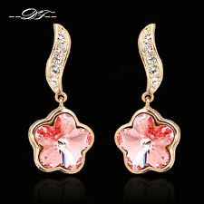 New Charming Crystal Flower Drop/Dangle Earrings 18KRGP Fashion Jewelry For Lady