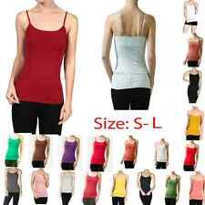 JUNIOR BASIC PLAIN ADJUSTABLE CAMIS SPAGHETTI STRAP STRETCHY TANK TOP  S M L