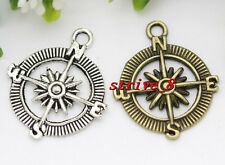 30/150pcs Antique Silver/Bronze compass Jewelry Finding Charms Pendant 30x25mm