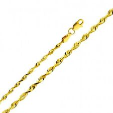 Solid 14k Yellow Gold 2.5mm Diamond Cut Solid Rope Chain 16 18 20 22 24 Inches
