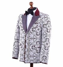 DOLCE & GABBANA RUNWAY Baroque Lace Velour Blazer Jacket White Red 03765