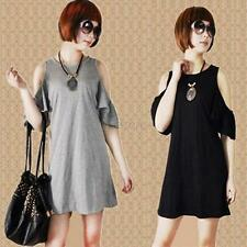 Women Ladies Off Shoulder Long Blouse Ruffled T-shirt Tops Shirt Dress S-XXL U78