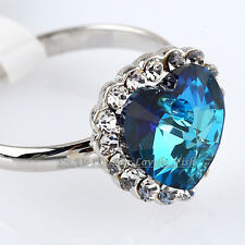 "Fashion Simulated Sapphire Ring ""Heart of Ocean"" 18KGP Crystal Size 5.5-10"