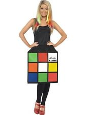 Ladies 80s Licensed 3D Rubiks Cube 1980's Fancy Dress Costume Retro Rubix's Fun