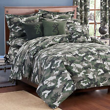 Browning Buckmark Green Camo Comforter Set & Sheets~Bed in Bag~Twin Full Queen