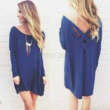 New Fashion Womens Long Sleeve Loose Casual Tops T-Shirt Blouse Short Mini Dress