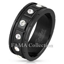 FAMA Square Grooved with 12 CZ Black IP Over Stainless Steel Ring Band Size 9-12