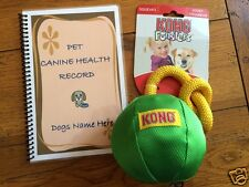 Pet Canine Health Dogs Shot Vaccination Record Book plus Kong Squeaks Toy Floats
