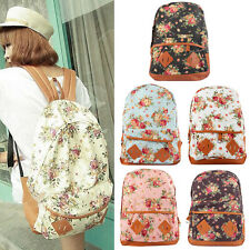 Girl Canvas Rucksack Flower Backpack School Bag Bookbag Shoulder Handbag Hiking