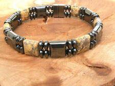 Men's Womens Magnetic Bracelet Anklet SNAKE SKIN JASPER SUPER STRONG Clasp 2 row