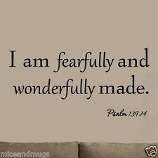 I Am Fearfully and Wonderfully Made Wall Art Decal Psalm Bible Quotes Nursery
