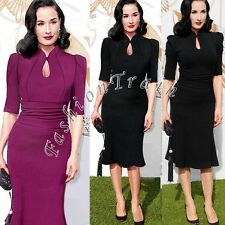 Womens Celeb Vintage 50s 60sTunic Prom Cocktail Party Evening Mermaid Midi Dress