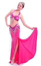 New Professional Belly Dance Costume 2 Pics Bra&Belt 34B/C 36B/C 10 Colors