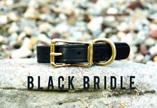 "CLASSIC LEATHER DOG COLLAR BLACK BRASS STEEL HANDMADE BY AMISH 1"" CUSTOM STRONG"