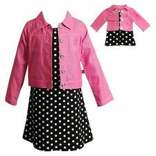 """Dollie Me Girl 4-7 and 18"""" Doll Matching Dot Dress Jacket Outfit American Girls"""