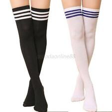 Hot Thigh High Sexy Cotton Socks Women's Striped Over Knee Girl Lady Stockings
