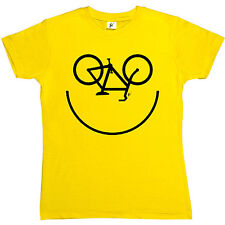 Smiley Face Cycle Cycling Bike Icon Womens Ladies T-Shirt