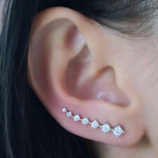 Set Ear Crawlers Crystals Curved Vine Bar Earrings Cuff Climber Pins NEW Gold