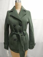 Jou Jou Juniors Belted Double Breasted Fleece Trench Coat  XL Green New w/ Tags