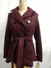 Celebrity Pink Juniors Belted Double Breasted Pea Coat  Burgandy New w/ Tags