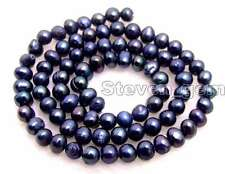 """SALE small 4 to 5mm Black Natural Freshwater round  Pearl Loose Bead 14""""-los635"""