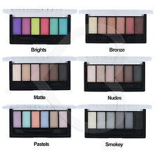 Technic 6 Colour Eyeshadow Palette Set Kit - Bright, Pastel, Nude Smokey Matte N