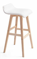 Plywood Bar stool Kitchen Dining Chairs PU Leather - White