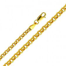 Solid 14k Yellow Gold 4mm Thick Semi-Hollow Rolo Chain 16 18 20 22 24 26 Inches
