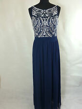 QUIZ NAVY BLUE MESH INSERT SEQUIN EMBELLISHED MAXI DRESS BNWT SIZE 8,10,12,14