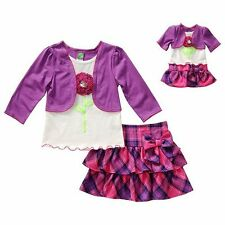 """Dollie & Me Girl 4-14 and 18"""" Doll Matching Plaid Skirt  Clothes American Girl"""