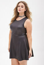 Forever 21 Plus Size Black Faux Leather Skater Dress 2X