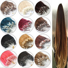 "18""Easy Loop Micro Ring Beads Tipped Remy Real Human Hair Extensions Ombre 100S"
