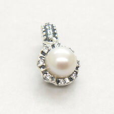 Everlasting Grace Pearl & Clear CZ Dangle Charm  silver Hanging Bead
