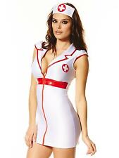 Ann Summers Bedside Nurse White/Red Sexy Open Collar Costume Outfit Fancy Dress