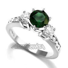 14k White Gold Russian Chrome Diopside Diamond Engagement Ring #R1667